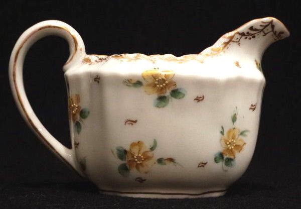 Antique RK Dresden Creamer Gilt with Hand Painted Yellow Flowers 2.5