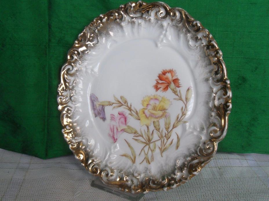 Antique Dresden Victorian Cabinet Plate Flowers Gold Edge 8