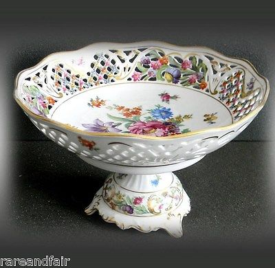 Dresden Germany compote with floral designs - pierced rim - FREE SHIPPING