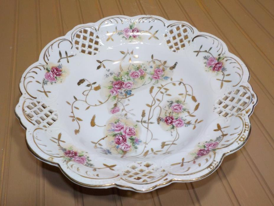 """Antique Dresden German Porcelain Reticulated Bowl Dish 10 1/2"""" Round Footed"""