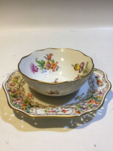 Dresden HP Floral Spray Mayo/Condiment Bowl w/attached Reticulated Underplate