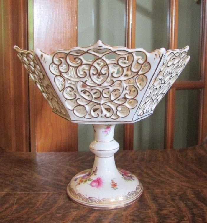 DRESDEN GERMANY CARL THIEME RETICULATED COMPOTE BOWL