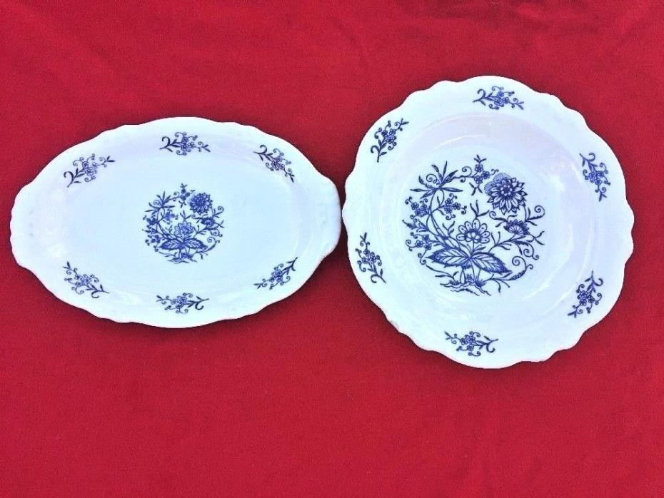DRESDEN Laughlin IMPERIAL BLUE Soup Serving Bowl & Small Oval Willow Platter SET