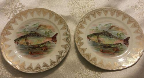 Dresden China Fish Plate 6 inch PAIR