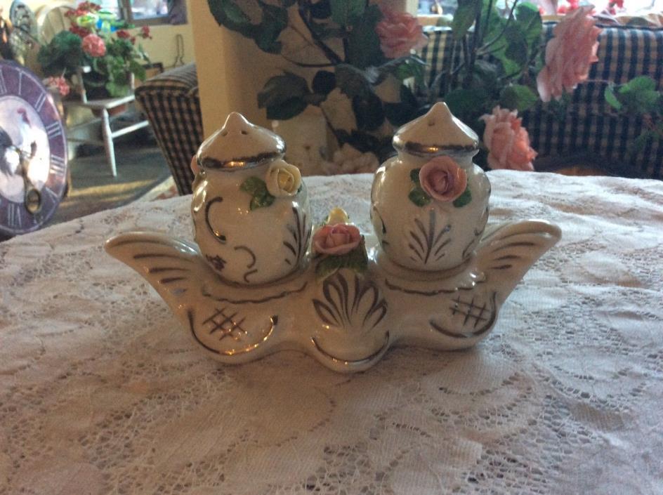 Vintage Germany Dresden porcelain Salt & Pepper Shakers + Holder Applied Roses