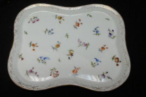 RK dresden germany porcelain vanity dresser tray hand painted flowers