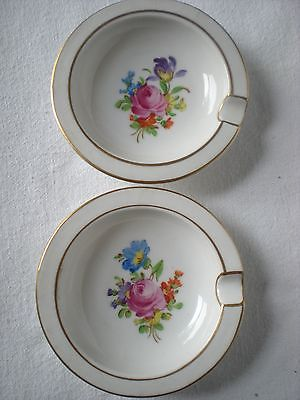 2 Vintage Dresden China Ashtrays Delicate Floral Multi-Colored