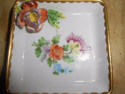 SP Dresden Saxon Porcelain Trinket Dish Molded Flowers Adorable