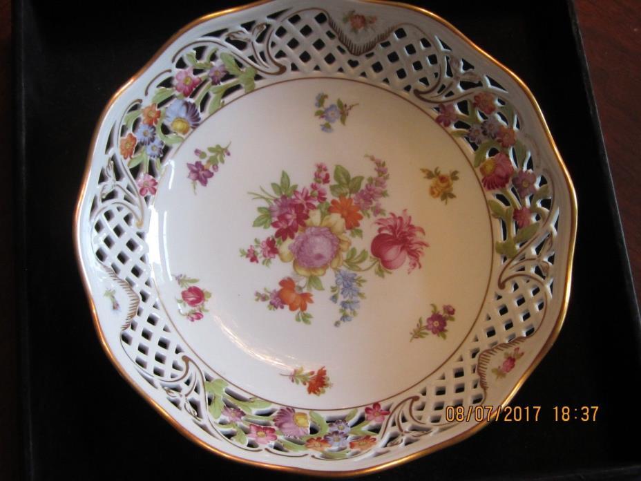 Empress Dresden Flower Lattice Bowl Rare Find