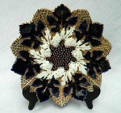 Antique Dresden Oldest Franziska Hirsch Porcelain Blue & Gold Maple Leaf Plate