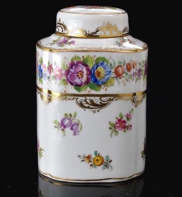 Antique Richard Wehsener Dresden Porcelain Tea Caddy