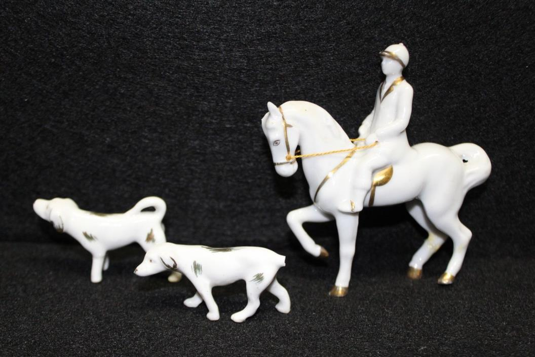 Vintage Erphila Germany Porcelain Horse & rider with 2 Dogs  Figurines