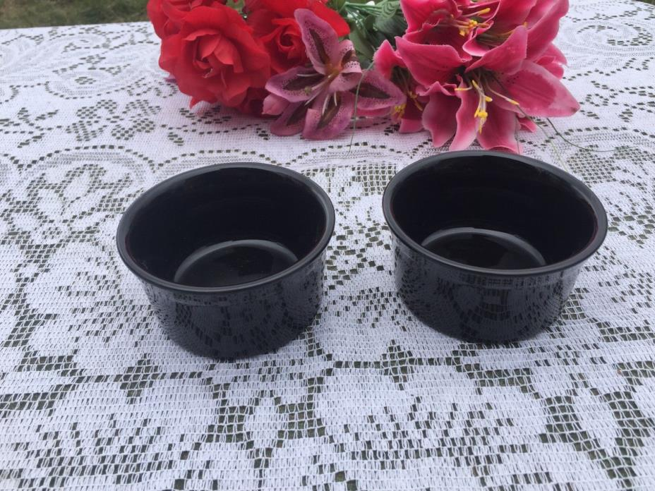FIESTA BLACK  2  RAMEKINS BOWLS Fiestaware ramekin bowl