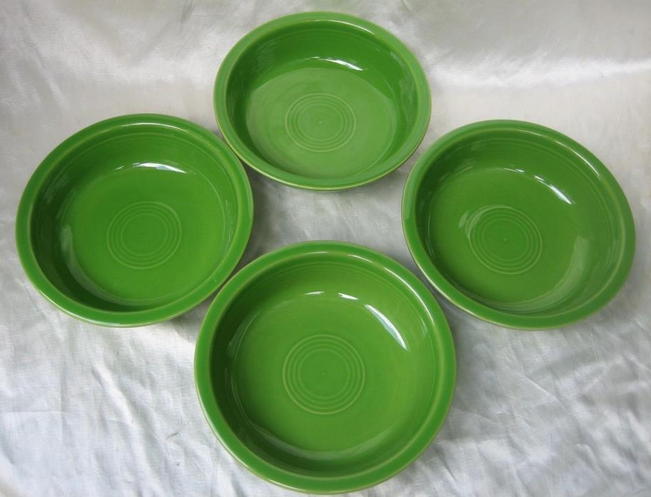 (4) Fiesta Homer Laughlin Shamrock Green Cereal /Soup or Salad Bowls