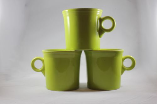 MODERN Pottery Homer Laughlin Fiesta LEMONGRASS Lime Green Lot 3 Coffee Mugs