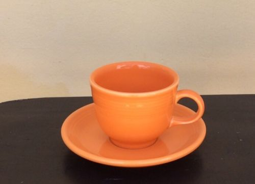 Fiesta Ware Tangerine Orange Coffee Cup Mug & Saucer