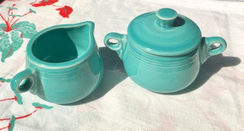 Fiesta Childrens Size Cream & Sugar Set Turquoise