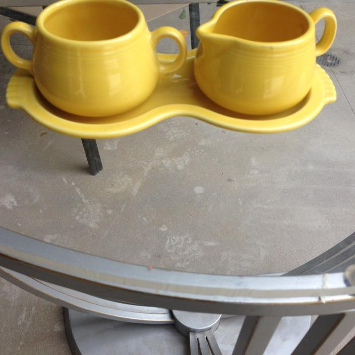 Vintage Fiesta Sugar and Creamer in Yellow