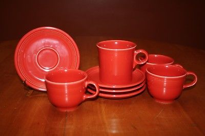 Contemporary Homer Laughlin Fiesta Ware Scarlet Four Cups and Four Saucers EUC