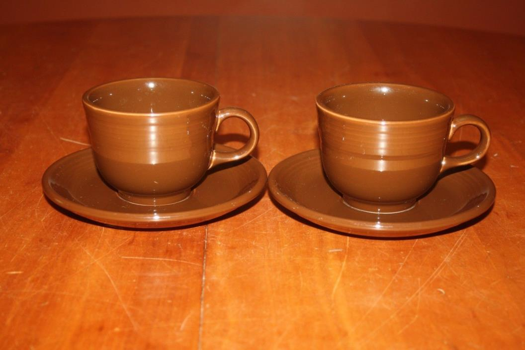 Contemporary Homer Laughlin Fiesta Ware Chocolate Two Cups and Two Saucers 2007