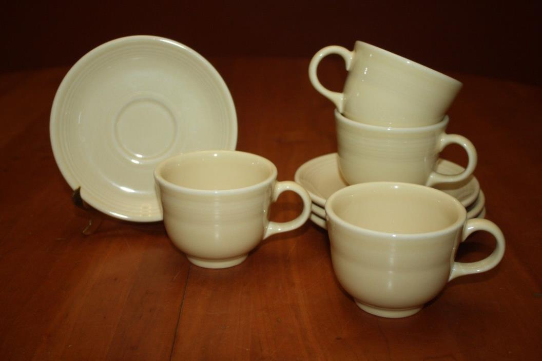 Contemporary Homer Laughlin Fiesta Ware Ivory Four Cups & Four Saucers 2009 EUC
