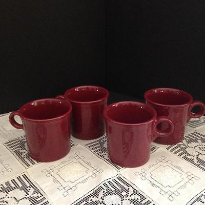 Fiesta Ware Homer Laughlin HLC Tom & Jerry Java Mugs Cinnabar Set/4