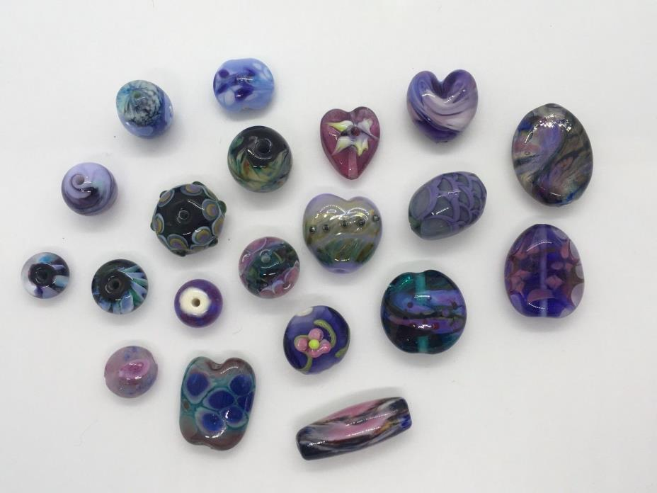 Large Lot Handmade Artisan Art Glass Lampwork Beads Variety of Shapes & Sizes