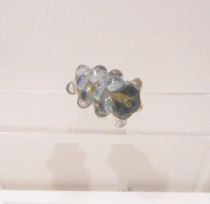 Loose Glass Bead, Lampwork Long Art Glass Bead With Bumps, Blue Green