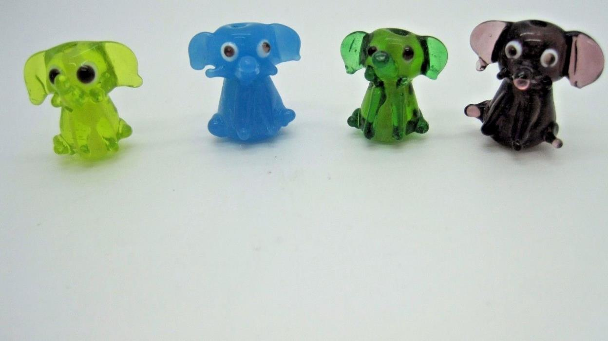 Lampwork Handmade Glass Elephant Beads Multi Colors 17x17mm (4)