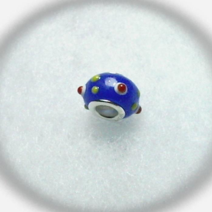 Lampwork Glass Bead Blue Yellow Red and White with 925 Sterling Silver Grommet