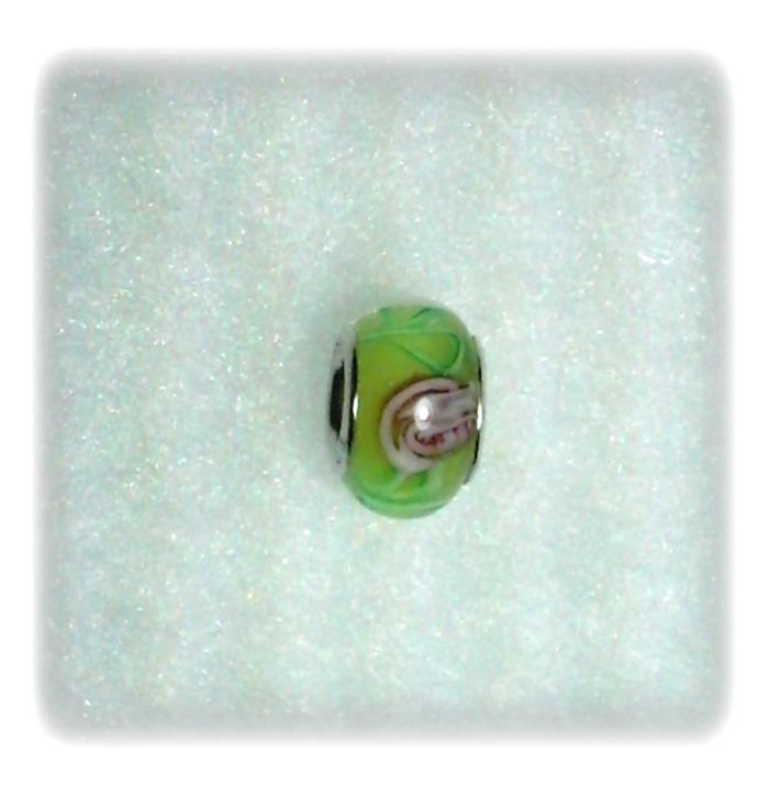 Pink White and Green Glass Lampwork Bead with 925 Sterling Silver Grommet