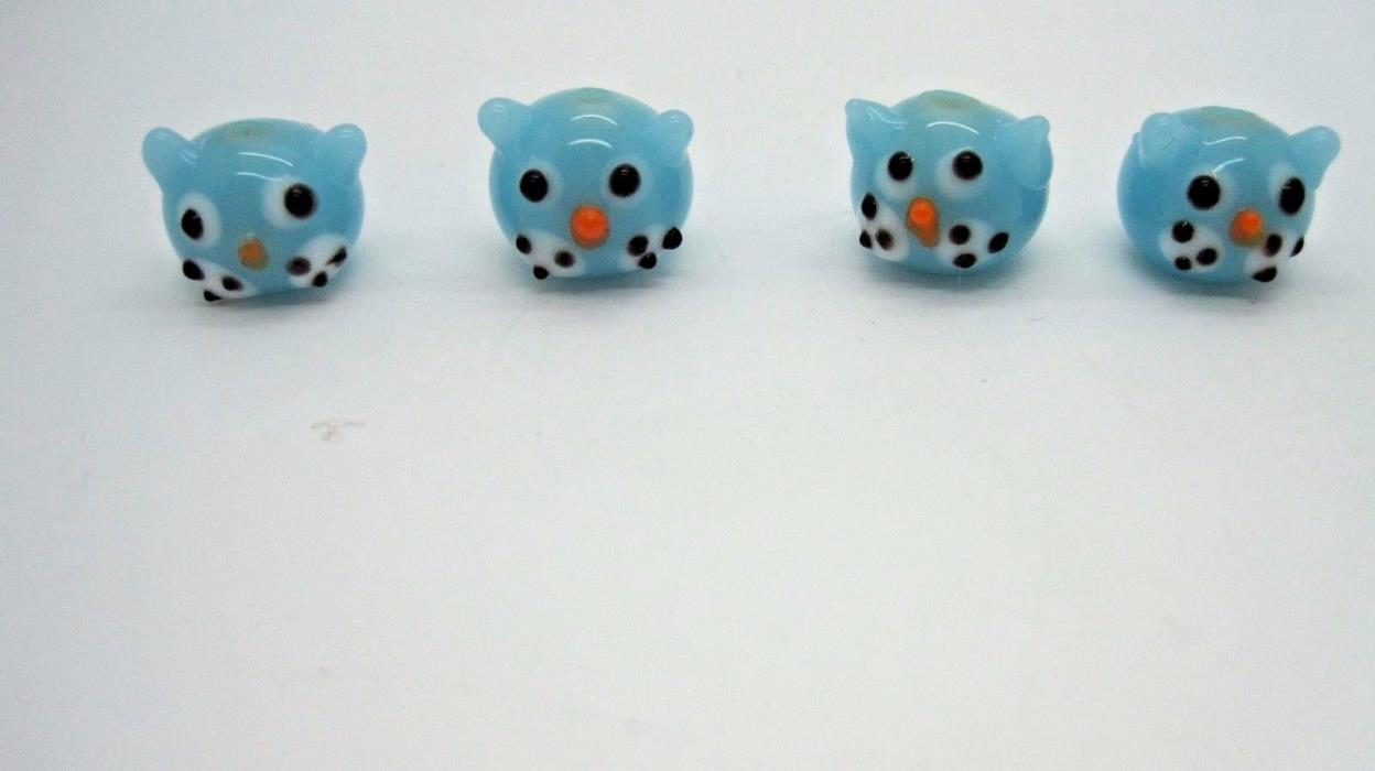 Light Blue 13mm Round Kitty Cat Head Unique Lampwork Glass Beads 4pc