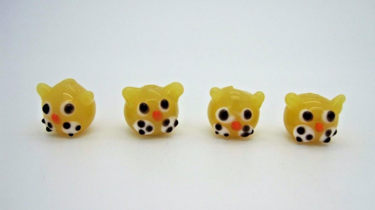 Yellow 13mm Round Kitty Cat Head Unique Lampwork Glass Beads 4pc