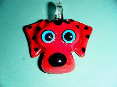 LAMP WORK GLASS PUPPY DOG FOCAL PENDANT RED W. BLACK SPOTS & TURQUOISE BLUE EYES