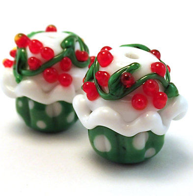 Handmade Lampwork Glass Cupcake Beads ( Set of two )