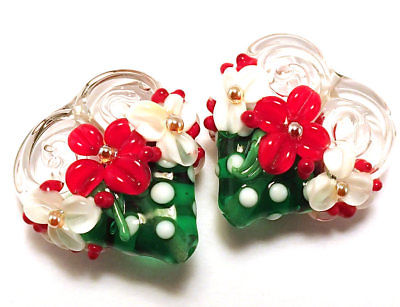Handmade Lampwork Glass Valentine Heart Beads ( Set of two )