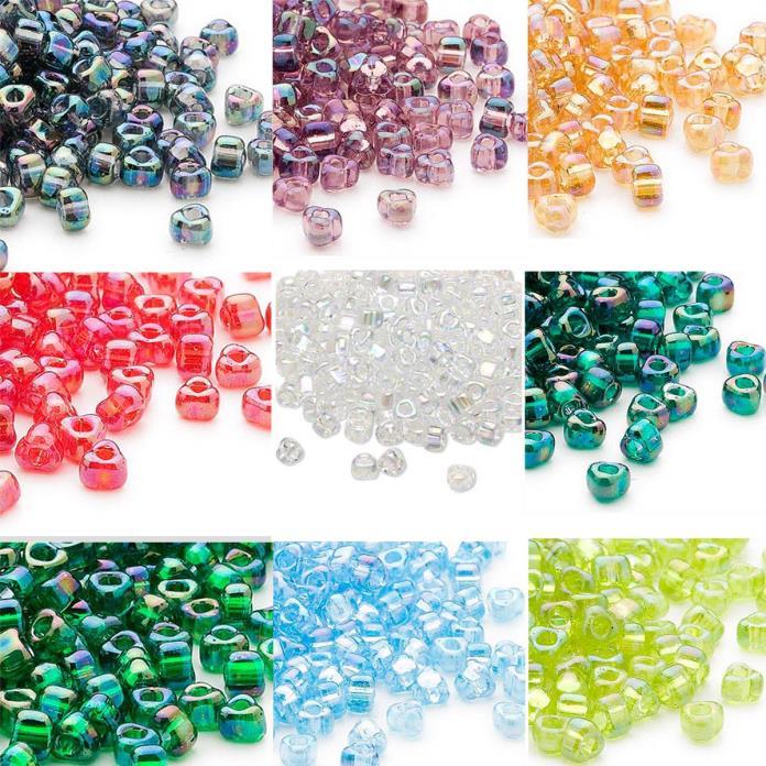 100 Miyuki Glass Triangle Seed Beads 5/0 Transparent Iris Colors 4 x 3 MM