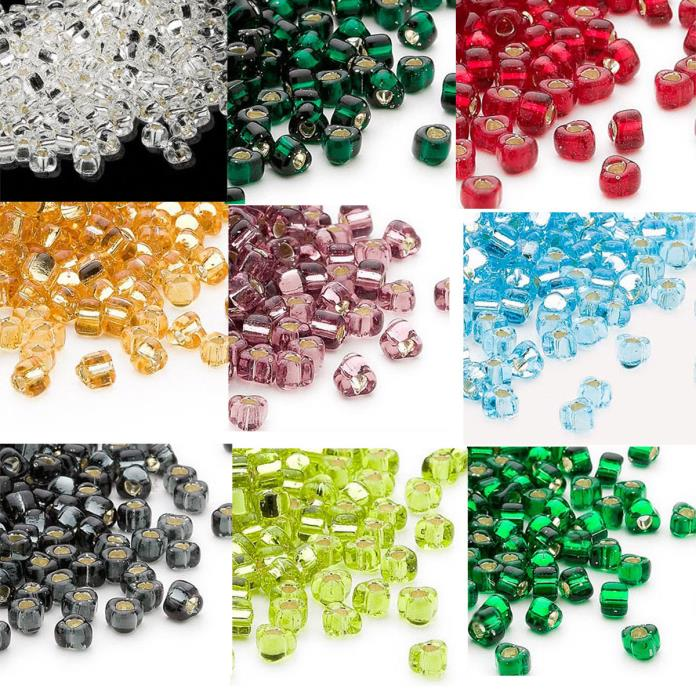 100 Miyuki Glass Triangle Seed Beads 5/0 Transparent Silver Lined Beads