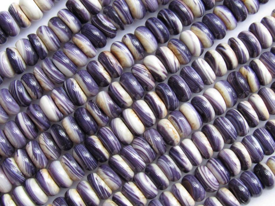 Wampum BEADS Quahog Shell USA 8mm Rondelles Strong Purple 16