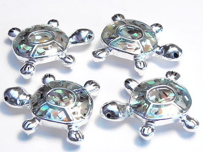 4 - 2 HOLE SLIDER BEADS SILVER PLATED ABALONE & ENAMEL SHELL TURTLES BEACH BEAD
