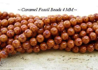 1 STRAND CARAMEL ROUND FOSSIL BEADS 4MM