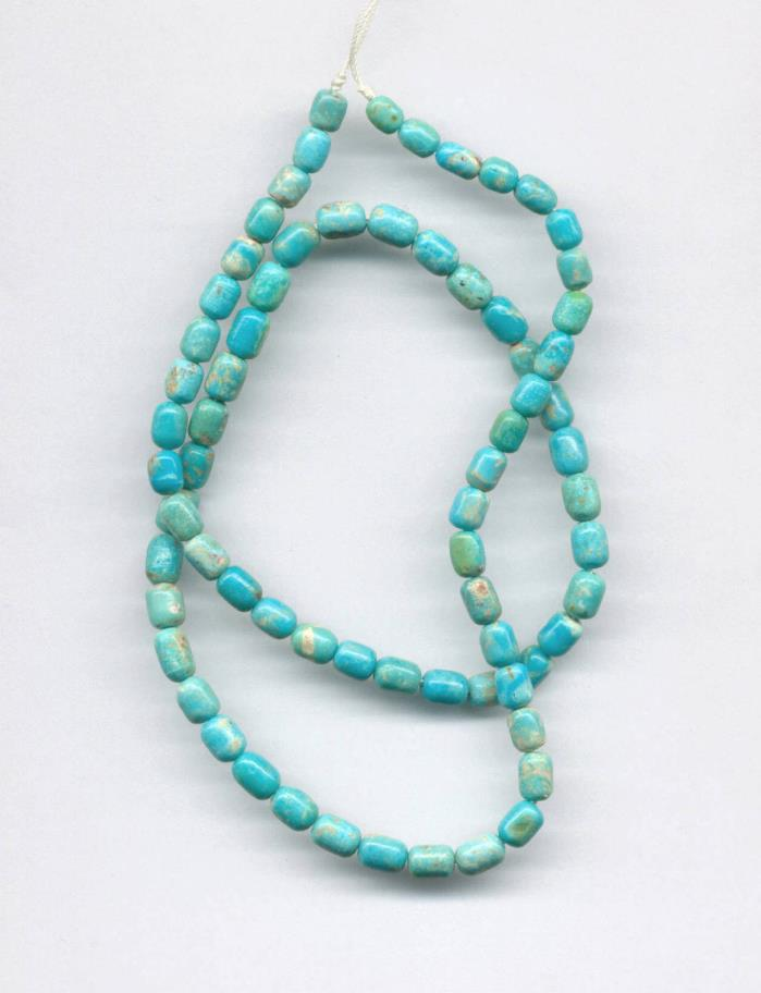 MEXICAN CAMPITOS BOULDER TURQUOISE BARREL BEADS - 17.75