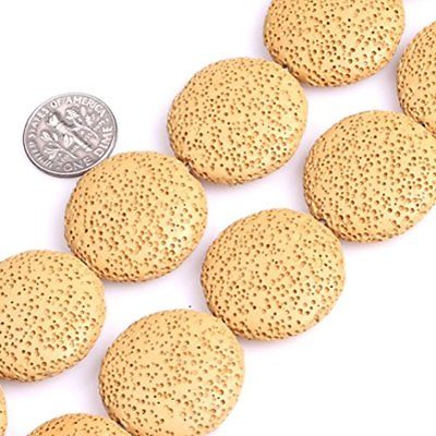 27mm Beads & Bead Assortments Dyed Coin Yellow Lava Rock Gemstone For Jewelry