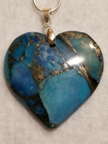 Natural blue matrix pyrite turquoise heart pendant chakra FREE SHIPPING