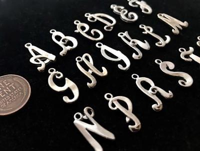 Vintage 17mm Sturdy Silver Tone Metal Initial Letter Charms 18