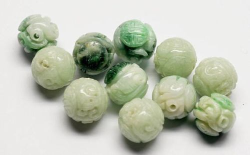 Antique 11 Jadeite Jade Carved Beads Burma Chinese Estate Lot Shou Jewelry Vtg