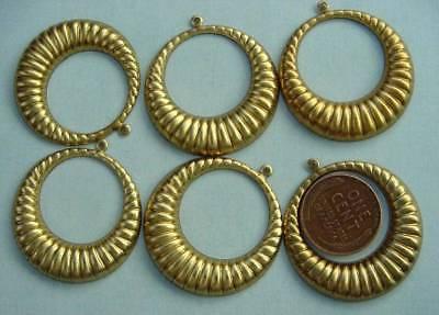 Vintage 32mm Ribbed Brass Drop Hoop Charms Findings 6