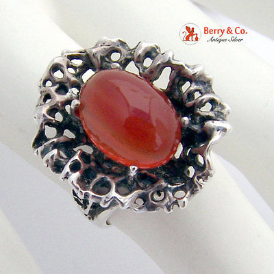 Unique Coral Style Openwork Sterling Silver Ring Carnelian