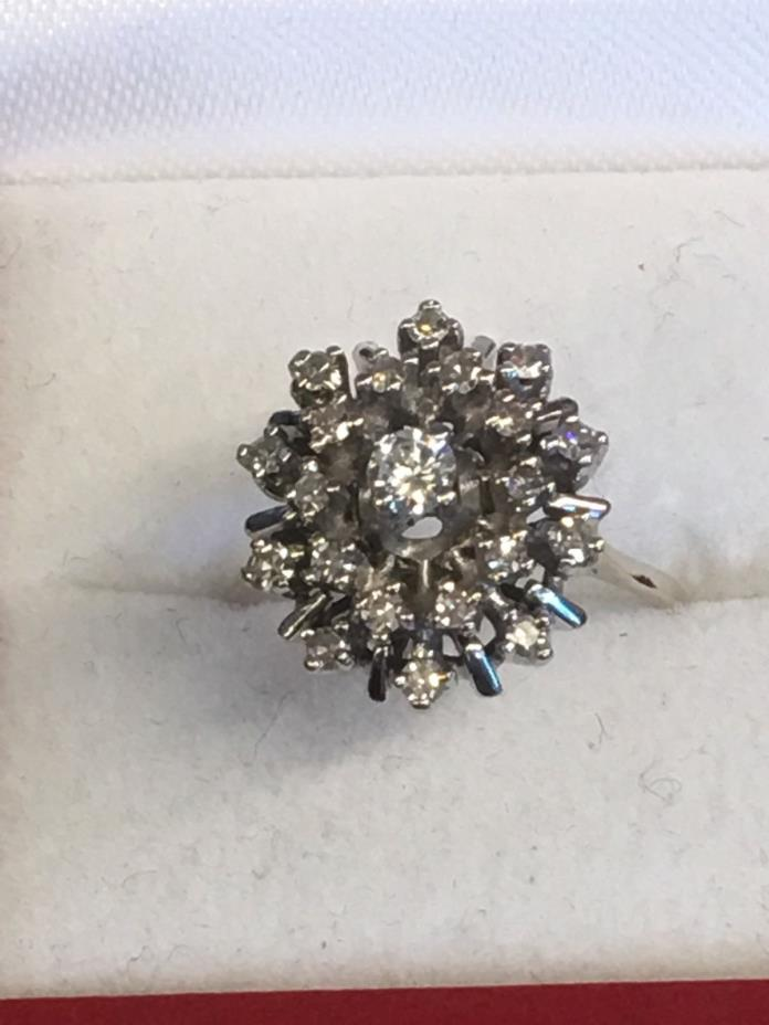 Vintage Estate 14k White Gold Ring Star Dome Cluster  3/4 Carat.