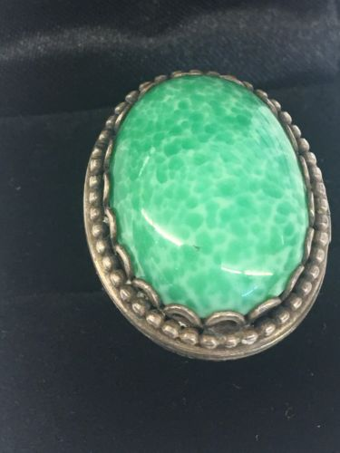 Vintage HUGE Bohemian Sterling Silver Poison/Pillbox Turquoise Adjustable Ring